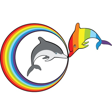 Rainbow dolphin and gray dolphins in the rainbow ring