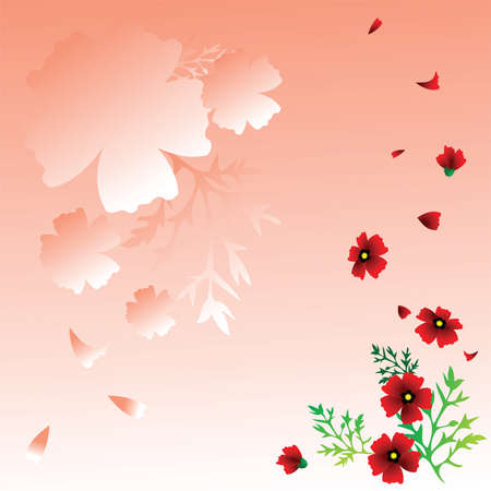 Poppy red flowers on a pink background Stock Vector - 9811046