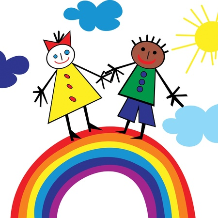 Children riding on a rainbow Vector