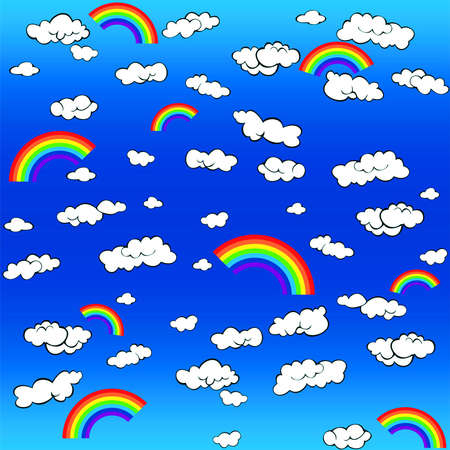 background with clouds and a rainbow Stock Vector - 9932714