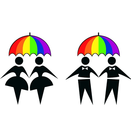 rainbow umbrella:   couple under rainbow umbrella