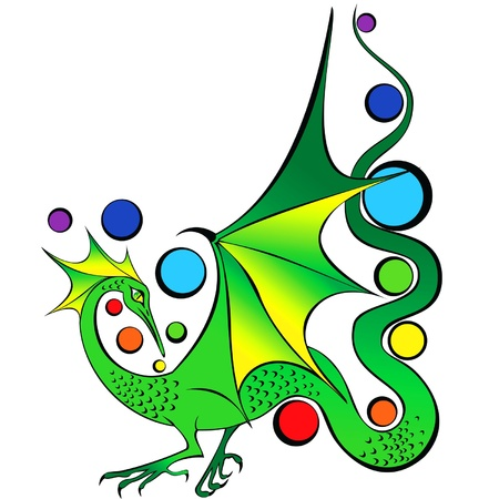 Green fairy dragon with iridescent balls