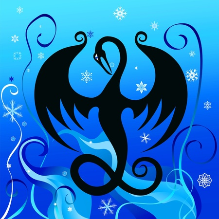 dragon fly: Fabulous black dragon on a winter background