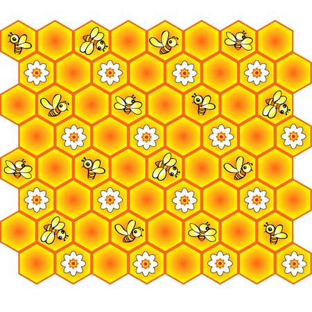 hives: background with bees and honeycomb