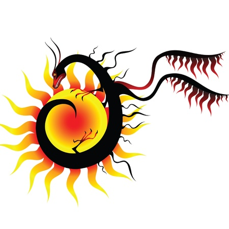 dragon and the sun Stock Vector - 10100100