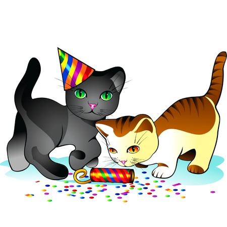 party poppers: Kittens playing with confetti and celebratory firecrackers