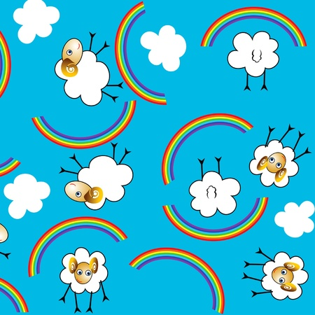 seamless background with sheep, rainbows and clouds Illustration