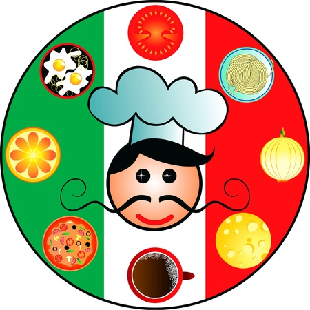 Italian dishes and cook on the background of the Italian flag