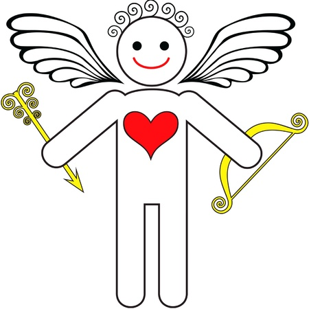 symbolic image of cupid with bow and arrow Stock Vector - 11022765