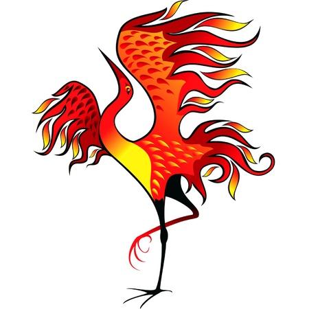 ave fenix: imagen estilizada de un ave fénix con la cabeza echada hacia atrás Vectores
