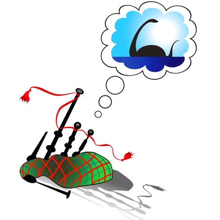 comic picture depicting a Scottish bagpipe and its dreams Vector