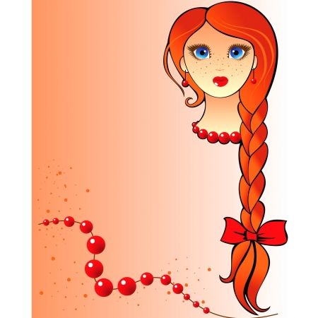 portrait of a red-haired girl with freckles and long braid Vector