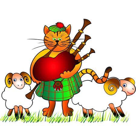 highlander: foto cómica de un gato-gaitero en una falda y dos corderos