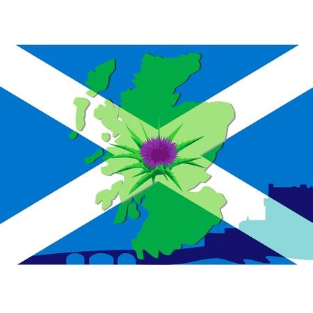 scottish flag: Fiore di cardo sulle mappe silhouette uno sfondo della Scozia e la bandiera scozzese