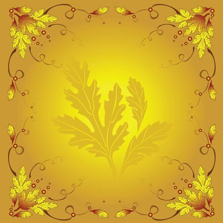 beautiful pattern with autumn leaves and gold background Vector