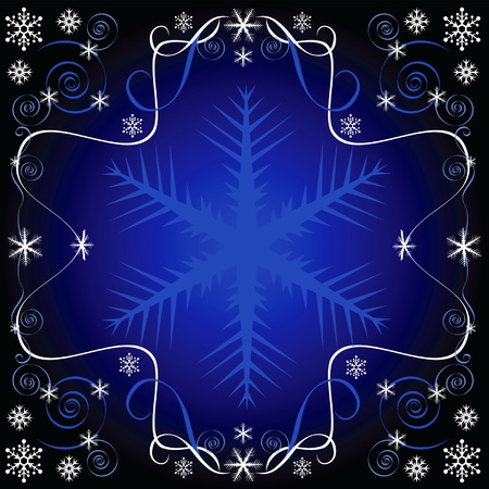 beautiful winter pattern with snowflakes and curls