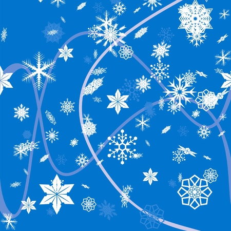 vector seamless blue background with white snowflakes Stock Vector - 11674153