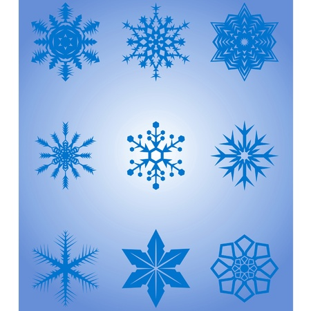 Vector images of snowflakes on a blue background Stock Vector - 11674151