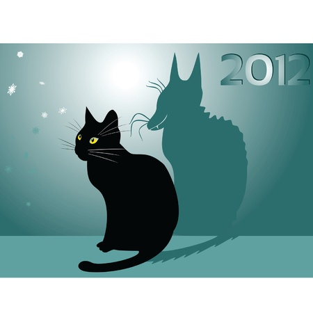 christmas dragon: vector image of a black cat with a shadow dragon is watching falling snowflakes Illustration