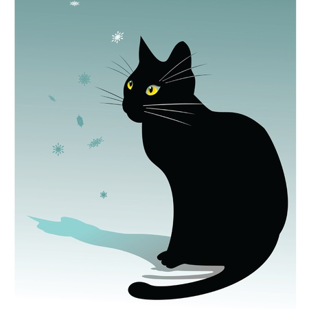 black cat silhouette: vector image of a black cat is watching falling snowflakes on a blue background
