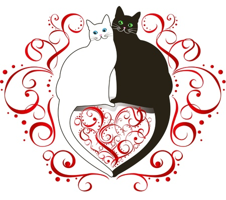funny love: a couple of cats in love against the background of the heart in curls Illustration