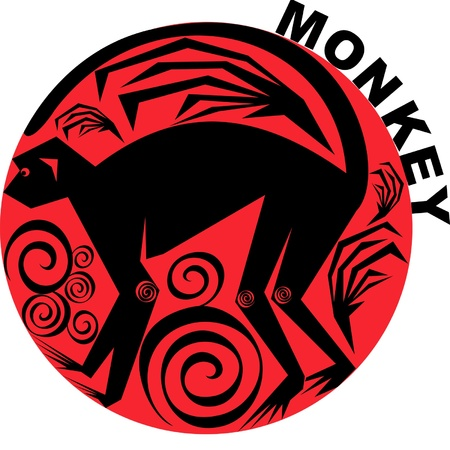 monkey silhouette: vector image one of the twelve signs of the Chinese horoscope Illustration