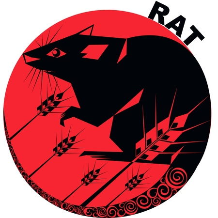 year of rat:   vector image one of the twelve signs of the Chinese horoscope