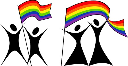 gay pride flag: silhouettes of gay and lesbian couples with rainbow flag