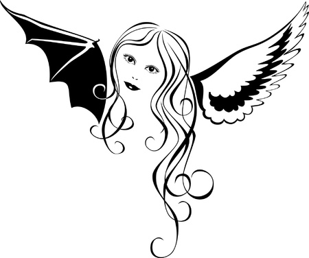 Vector image of a girl with white and black wing