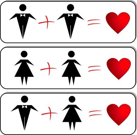 amor gay: vector de la figura de las personas con orientaci�n sexual diferente Vectores