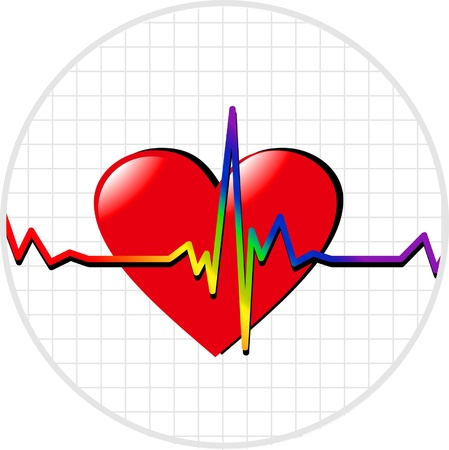 gay pride rainbow: vector images cardiogram and heart - a symbol of gay pride