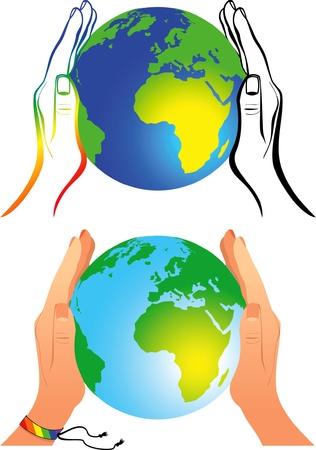 tolerancia: palmas de las manos abrazan la tierra - un s�mbolo de la tolerancia y la igualdad para los gays Vectores