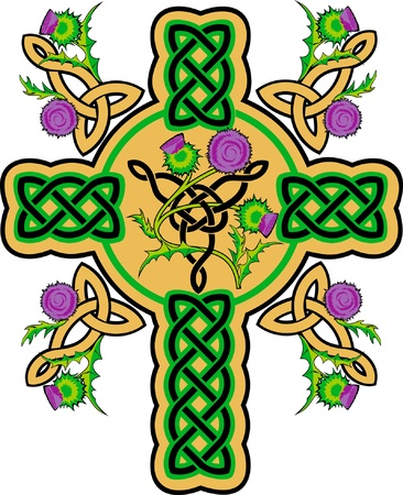 Celtic cross wreathed with flowers of thistles
