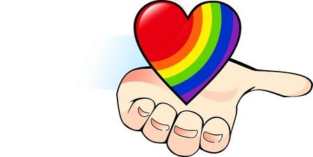 tolerancia: corazón del arco iris en la palma de la mano - símbolo de la comunidad gay