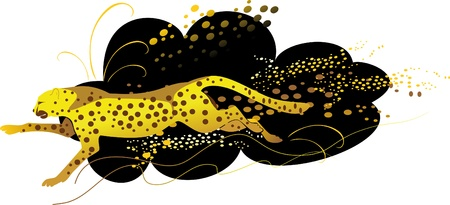 Vector image of a running cheetah on the spotty background   Vector
