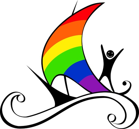 Sailing boat with rainbow sail and happy person on board