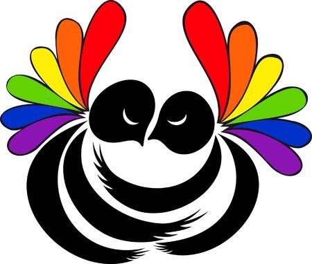 lesbian: deux chiffres embrassant avec des ailes iris�es sur un fond blanc Illustration
