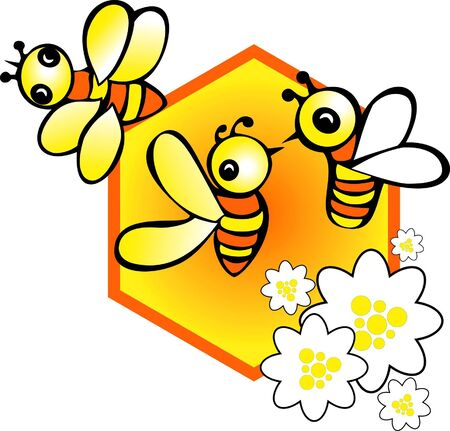 honey cell:   a set of honeycomb and bees with chamomile flowers Illustration