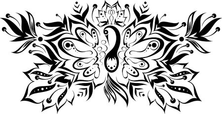 black and white pattern with a magic bird and flowers