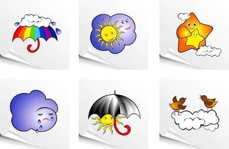 rainbow umbrella: set with a variety of clouds and weather phenomena Illustration