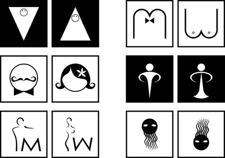 simbolo hombre mujer: conjunto en blanco y negro de las pastillas para el inodoro Vectores