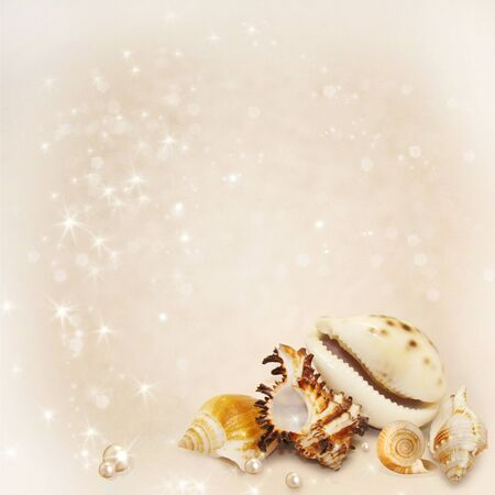Postcard with a variety of seashells and pearls Stock Photo