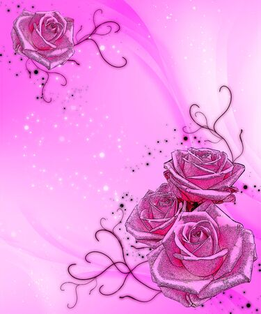 hot pink sparkle background with pink roses photo