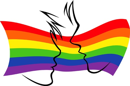 gay men: silhouettes of two people on the background of the rainbow flag