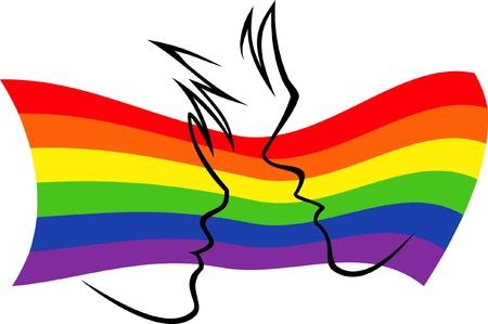 gay men: siluetas de dos personas en el fondo de la bandera del arco iris