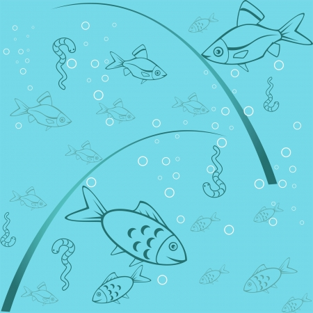 Seamless blue background with fish and worms and bubbles Vector