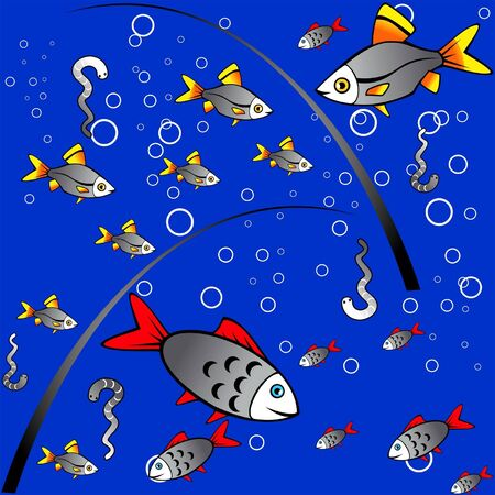 Seamless blue background with fish and worms and bubbles Stock Vector - 14894801