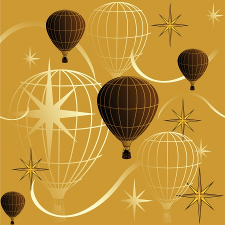 Golden seamless background with balloons and stars Vector