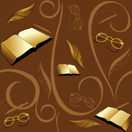 Seamless brown background with books and pens with glasses Vector