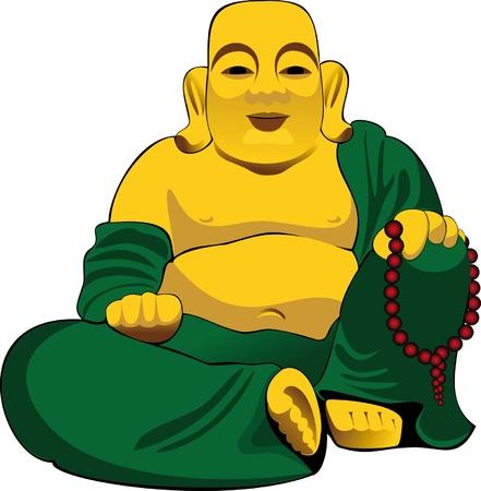 cabeza de buda: figura dorada de Buda sentado en un vestido verde